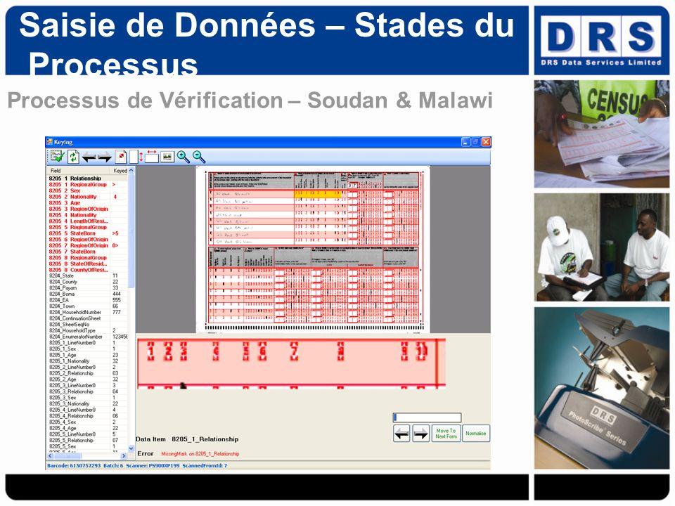 Processus de Vérification – Soudan & Malawi Saisie de Données – Stades du Processus