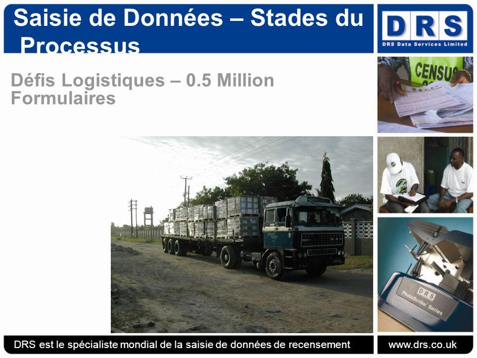 Saisie de Données – Stades du Processus Défis Logistiques – 0.5 Million Formulaires DRS est le spécialiste mondial de la saisie de données de recensement www.drs.co.uk