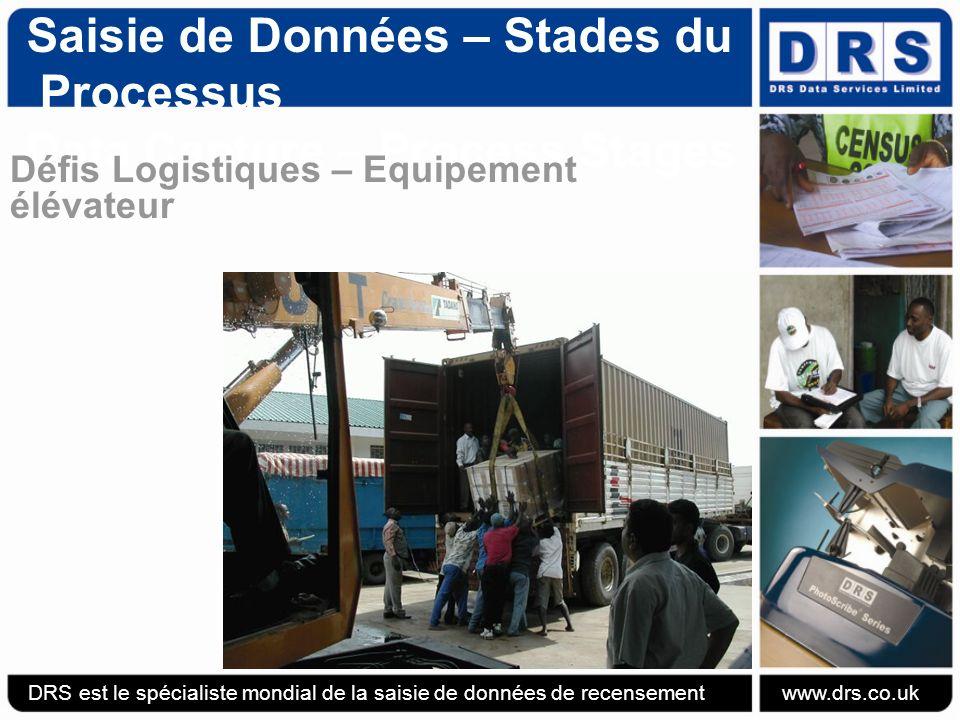 Saisie de Données – Stades du Processus Data Capture – Process Stages Défis Logistiques – Equipement élévateur DRS est le spécialiste mondial de la saisie de données de recensement www.drs.co.uk