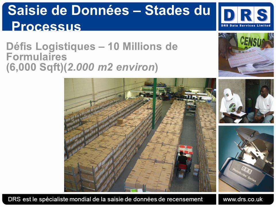 Saisie de Données – Stades du Processus Défis Logistiques – 10 Millions de Formulaires (6,000 Sqft)(2.000 m2 environ) DRS est le spécialiste mondial de la saisie de données de recensement www.drs.co.uk
