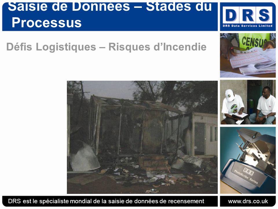 Saisie de Données – Stades du Processus Défis Logistiques – Risques dIncendie DRS est le spécialiste mondial de la saisie de données de recensement www.drs.co.uk