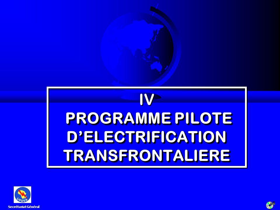 PROGRAMME PILOTE DELECTRIFICATION TRANSFRONTALIERE IV PROGRAMME PILOTE DELECTRIFICATION TRANSFRONTALIERE Secrétariat Général