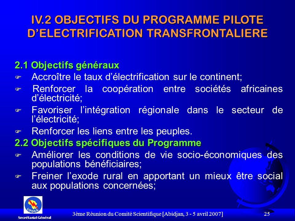 3ème Réunion du Comité Scientifique [Abidjan, 3 - 5 avril 2007] 25 2.1 Objectifs généraux F Accroître le taux délectrification sur le continent; F Ren