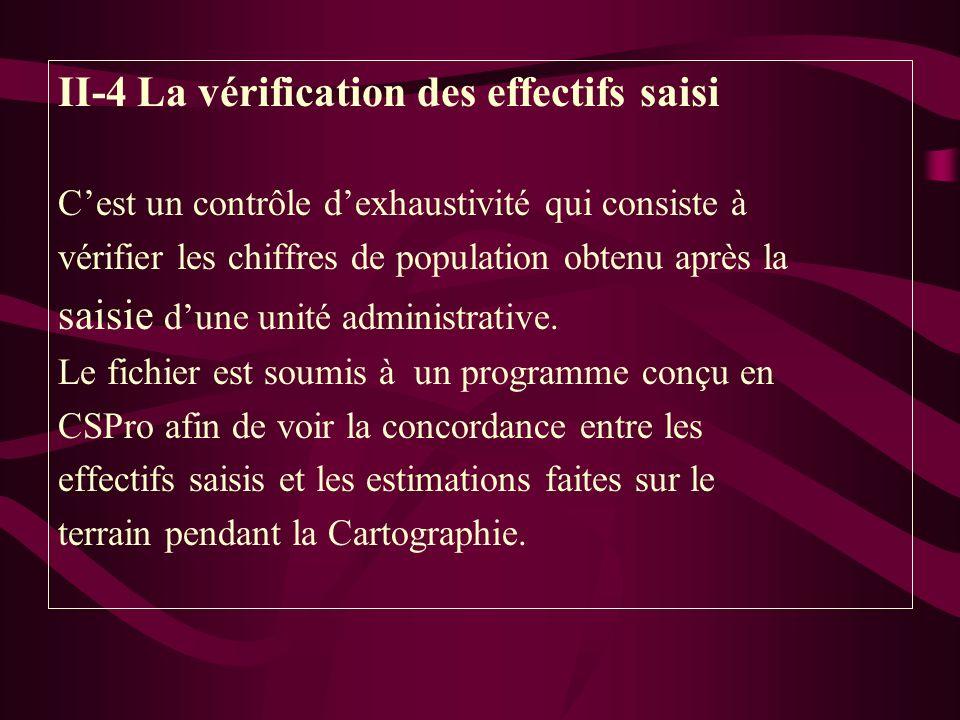 II-4 La vérification des effectifs saisi Cest un contrôle dexhaustivité qui consiste à vérifier les chiffres de population obtenu après la saisie dune