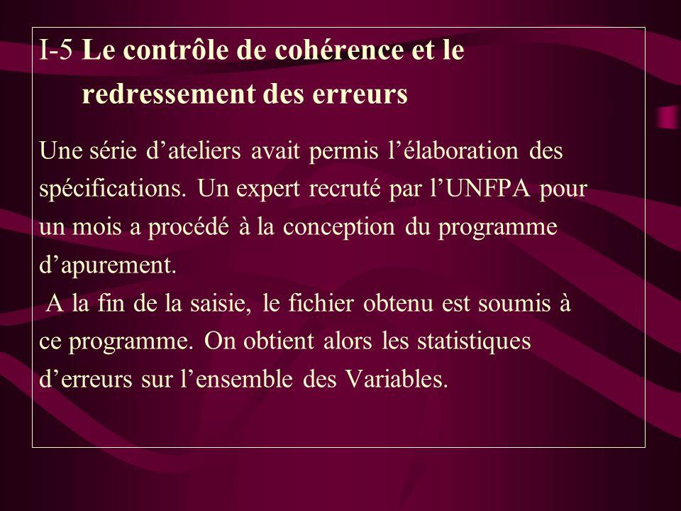 I-5 Le contrôle de cohérence et le redressement des erreurs Une série dateliers avait permis lélaboration des spécifications. Un expert recruté par lU