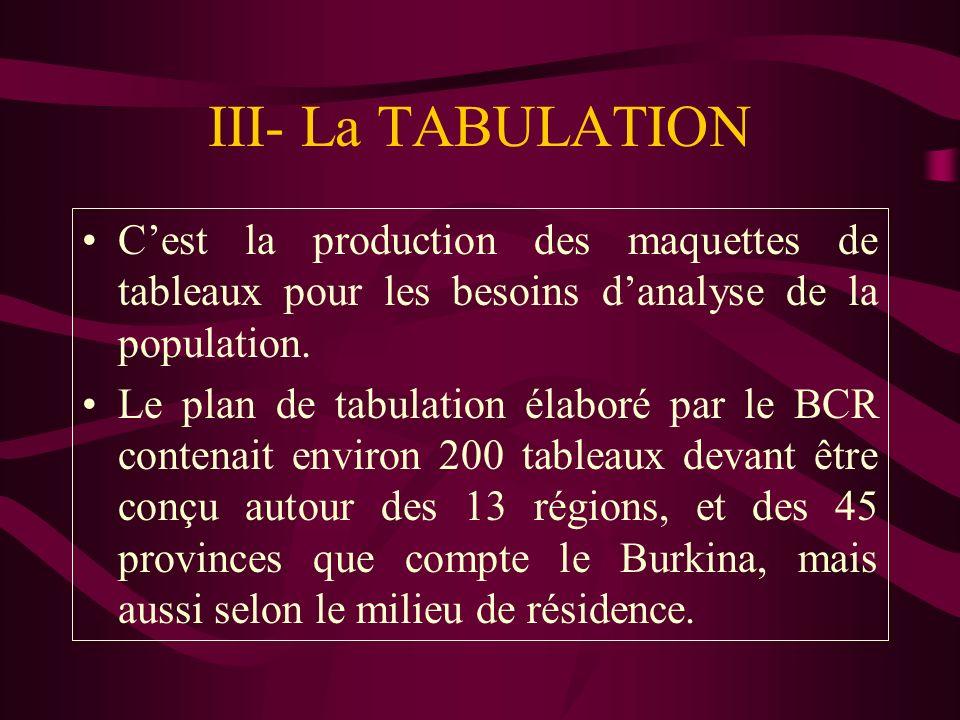 III- La TABULATION Cest la production des maquettes de tableaux pour les besoins danalyse de la population. Le plan de tabulation élaboré par le BCR c
