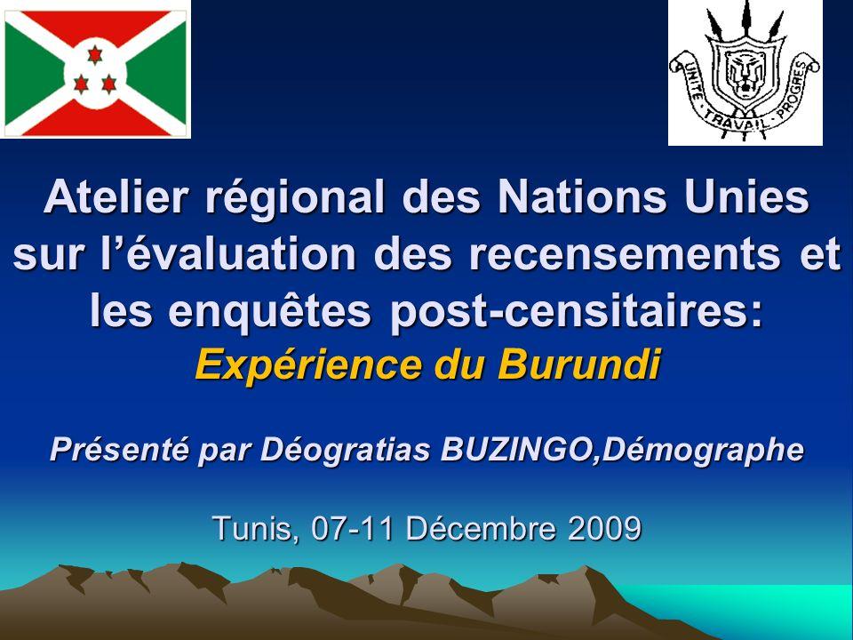 Atelier régional des Nations Unies sur lévaluation des recensements et les enquêtes post-censitaires: Expérience du Burundi Présenté par Déogratias BUZINGO,Démographe Tunis, 07-11 Décembre 2009
