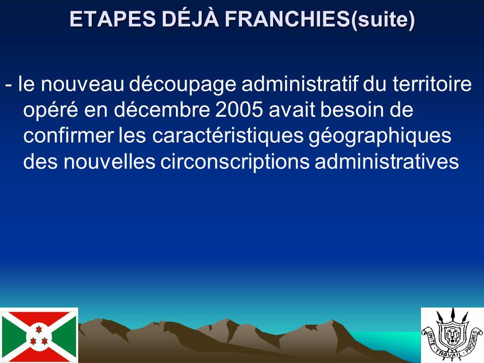 ETAPES DÉJÀ FRANCHIES(suite) - le nouveau découpage administratif du territoire opéré en décembre 2005 avait besoin de confirmer les caractéristiques géographiques des nouvelles circonscriptions administratives