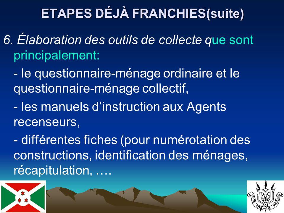 ETAPES DÉJÀ FRANCHIES(suite) 6.