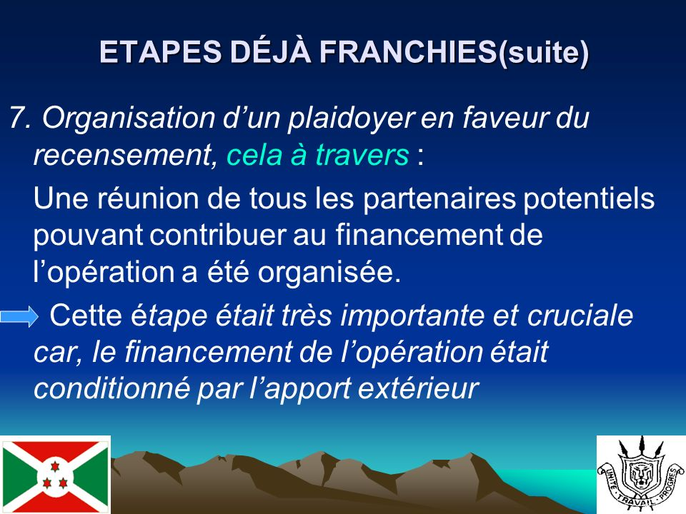 ETAPES DÉJÀ FRANCHIES(suite) 7.