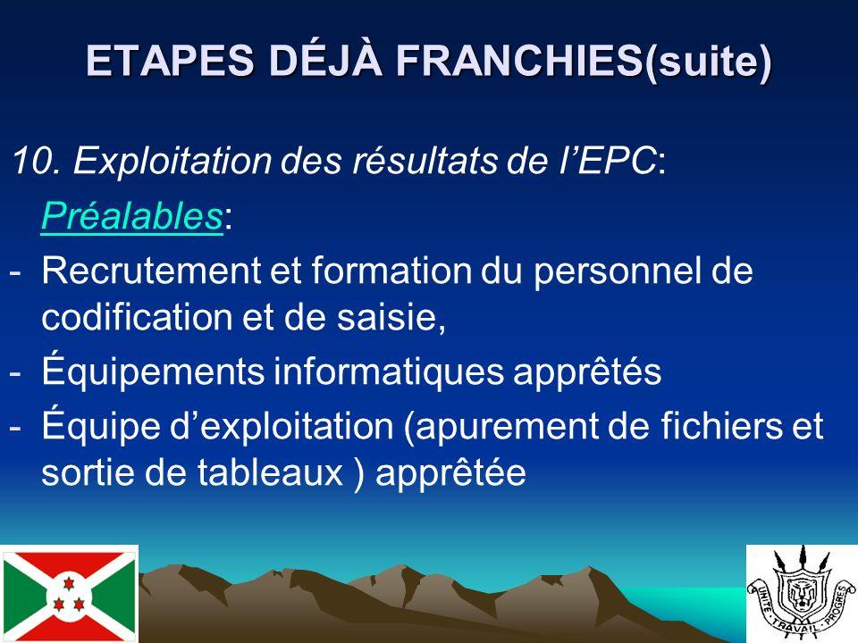ETAPES DÉJÀ FRANCHIES(suite) 10.