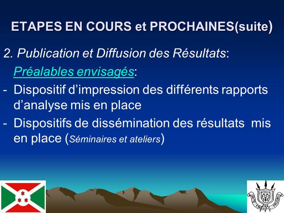 ETAPES EN COURS et PROCHAINES(suite ) 2.