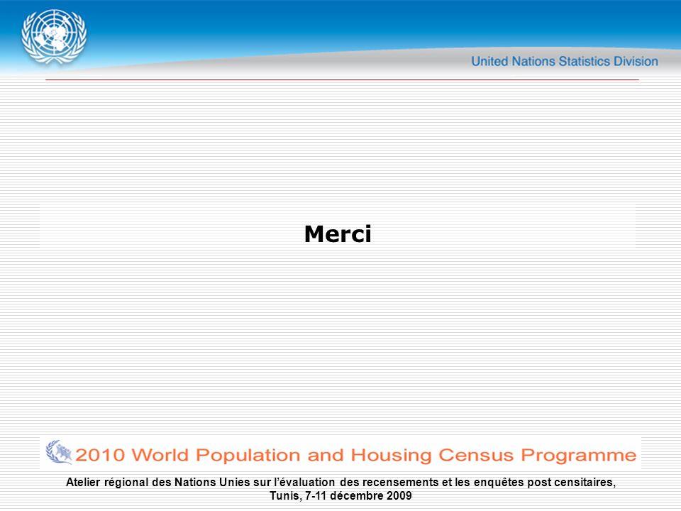 Atelier régional des Nations Unies sur lévaluation des recensements et les enquêtes post censitaires, Tunis, 7-11 décembre 2009 Merci