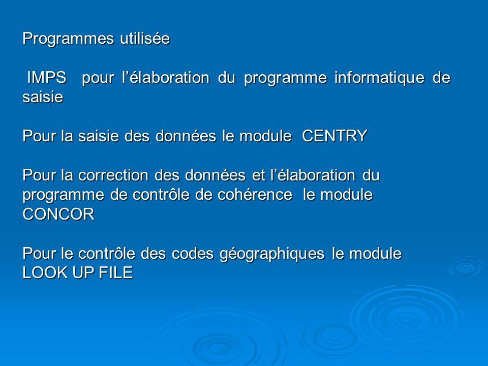 Programmes utilisée IMPS pour lélaboration du programme informatique de saisie IMPS pour lélaboration du programme informatique de saisie Pour la saisie des données le module CENTRY Pour la correction des données et lélaboration du programme de contrôle de cohérence le module CONCOR Pour le contrôle des codes géographiques le module LOOK UP FILE