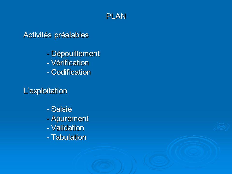 PLAN Activités préalables - Dépouillement - Vérification - Codification Lexploitation - Saisie - Apurement - Validation - Tabulation