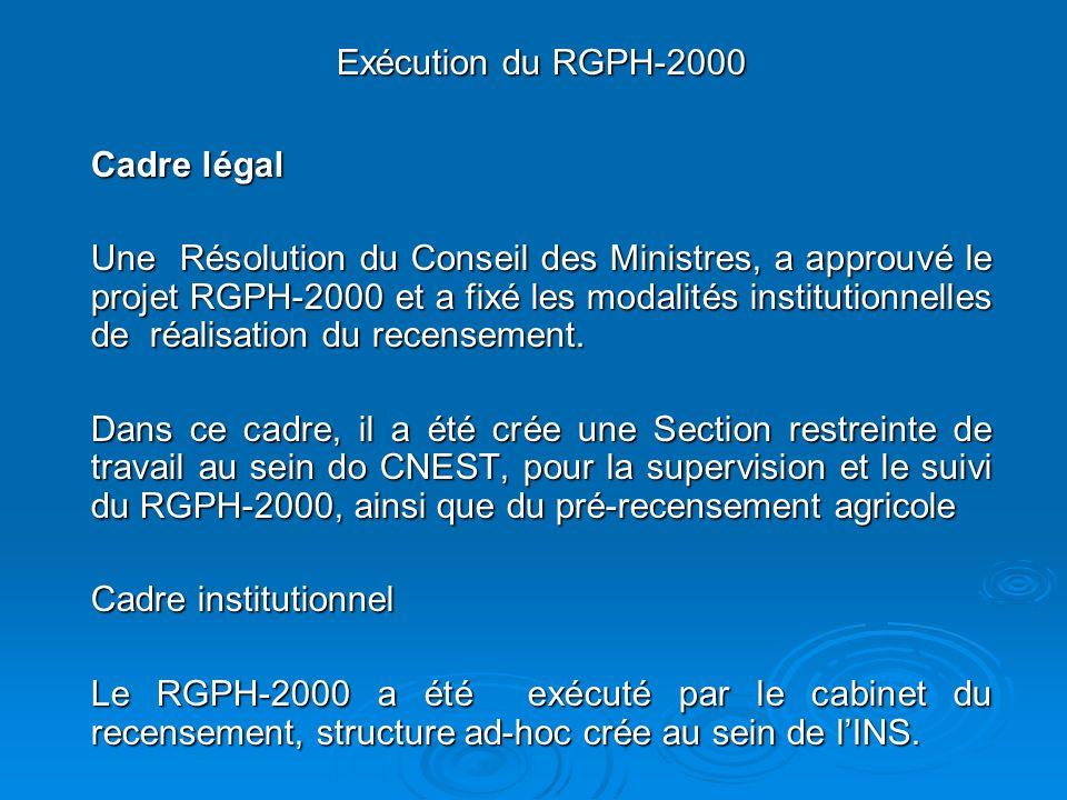 Exécution du RGPH-2000 Cadre légal Une Résolution du Conseil des Ministres, a approuvé le projet RGPH-2000 et a fixé les modalités institutionnelles de réalisation du recensement.