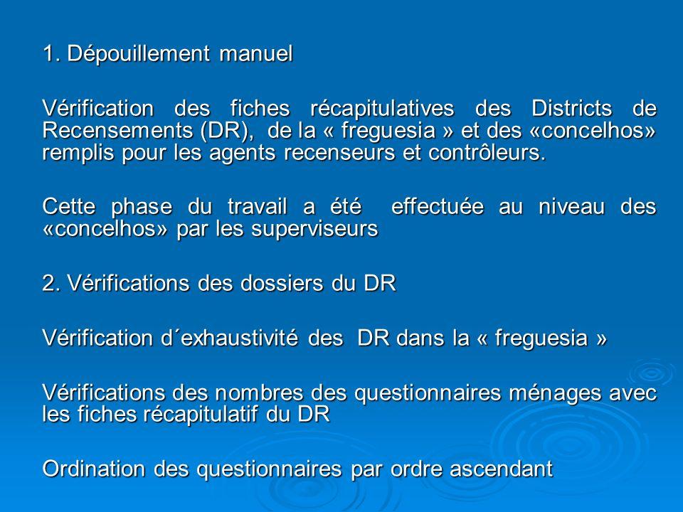 1. Dépouillement manuel Vérification des fiches récapitulatives des Districts de Recensements (DR), de la « freguesia » et des «concelhos» remplis pou