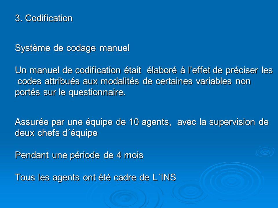 3. Codification Système de codage manuel Un manuel de codification était élaboré à leffet de préciser les codes attribués aux modalités de certaines v