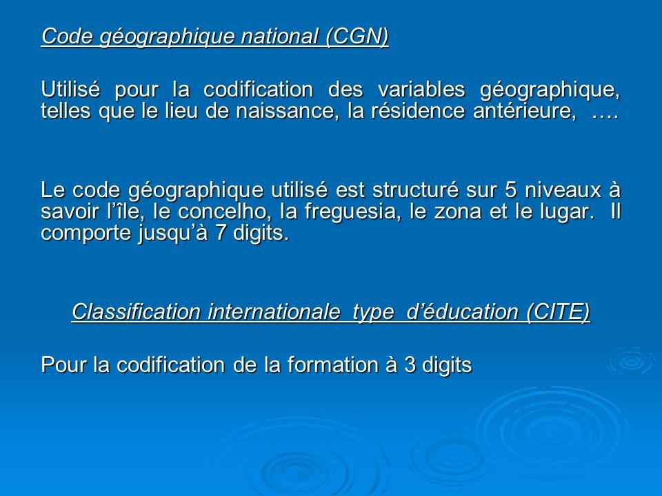 Code géographique national (CGN) Utilisé pour la codification des variables géographique, telles que le lieu de naissance, la résidence antérieure, ….