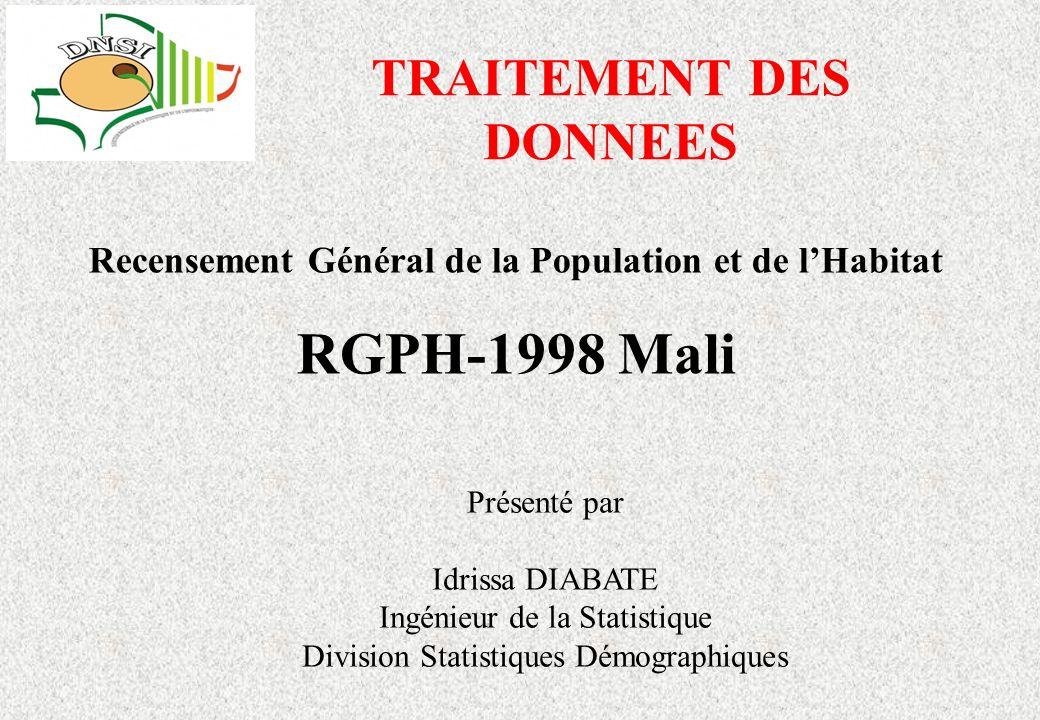 TRAITEMENT DES DONNEES Recensement Général de la Population et de lHabitat RGPH-1998 Mali Présenté par Idrissa DIABATE Ingénieur de la Statistique Division Statistiques Démographiques