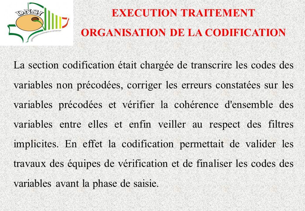 EXECUTION TRAITEMENT ORGANISATION DE LA CODIFICATION La section codification était chargée de transcrire les codes des variables non précodées, corriger les erreurs constatées sur les variables précodées et vérifier la cohérence d ensemble des variables entre elles et enfin veiller au respect des filtres implicites.