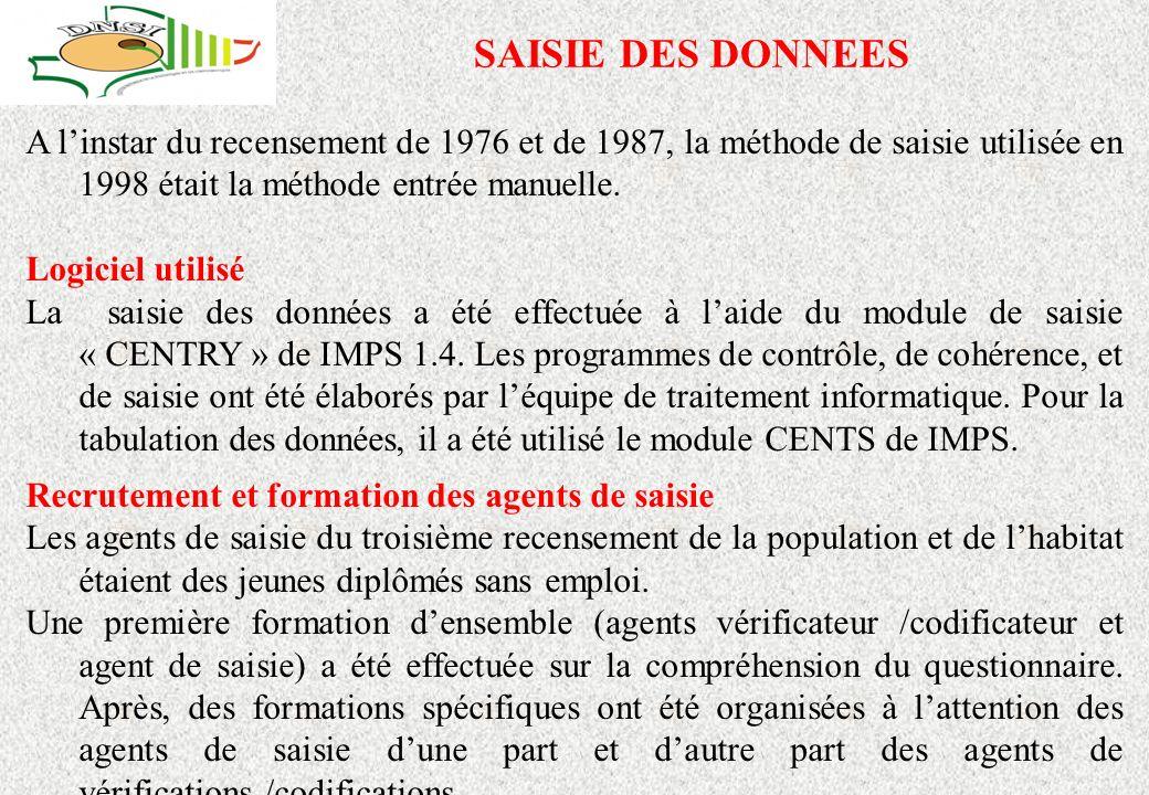 SAISIE DES DONNEES A linstar du recensement de 1976 et de 1987, la méthode de saisie utilisée en 1998 était la méthode entrée manuelle.