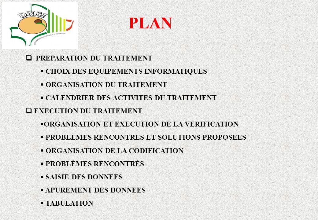 PLAN PREPARATION DU TRAITEMENT CHOIX DES EQUIPEMENTS INFORMATIQUES ORGANISATION DU TRAITEMENT CALENDRIER DES ACTIVITES DU TRAITEMENT EXECUTION DU TRAITEMENT ORGANISATION ET EXECUTION DE LA VERIFICATION PROBLEMES RENCONTRES ET SOLUTIONS PROPOSEES ORGANISATION DE LA CODIFICATION PROBLÈMES RENCONTRÉS SAISIE DES DONNEES APUREMENT DES DONNEES TABULATION