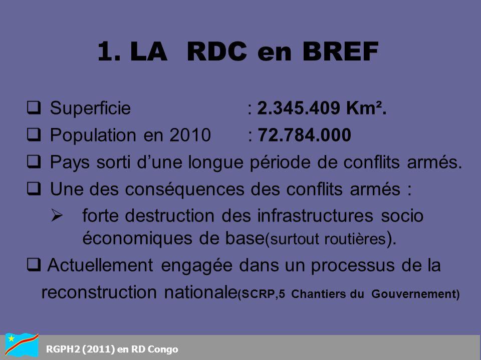 Superficie : 2.345.409 Km². Population en 2010 : 72.784.000 Pays sorti dune longue période de conflits armés. Une des conséquences des conflits armés