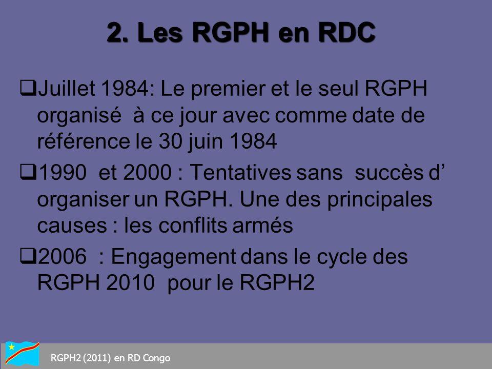 Base légale : Signature le 8 Août 2009 du Décret prescrivant le RGPH2 Structure Technique responsable : INS Date du Recensement : 1 er Juillet 2011 Durée du Projet : 4 ans Population cible : Population de droit et de fait Budget prévisionnel : 176.800.000US$ y compris le coût de lEPC 3.RGPH2 Quelques Repères RGPH2 (2011) en RD Congo