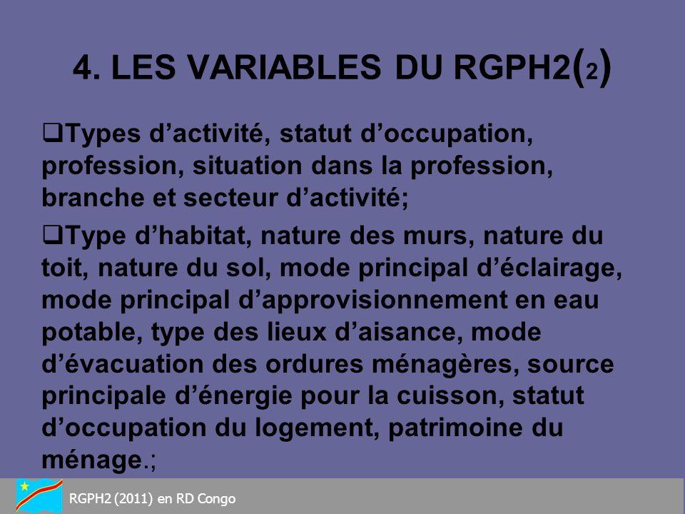 4. LES VARIABLES DU RGPH2 ( 2 ) Types dactivité, statut doccupation, profession, situation dans la profession, branche et secteur dactivité; Type dhab