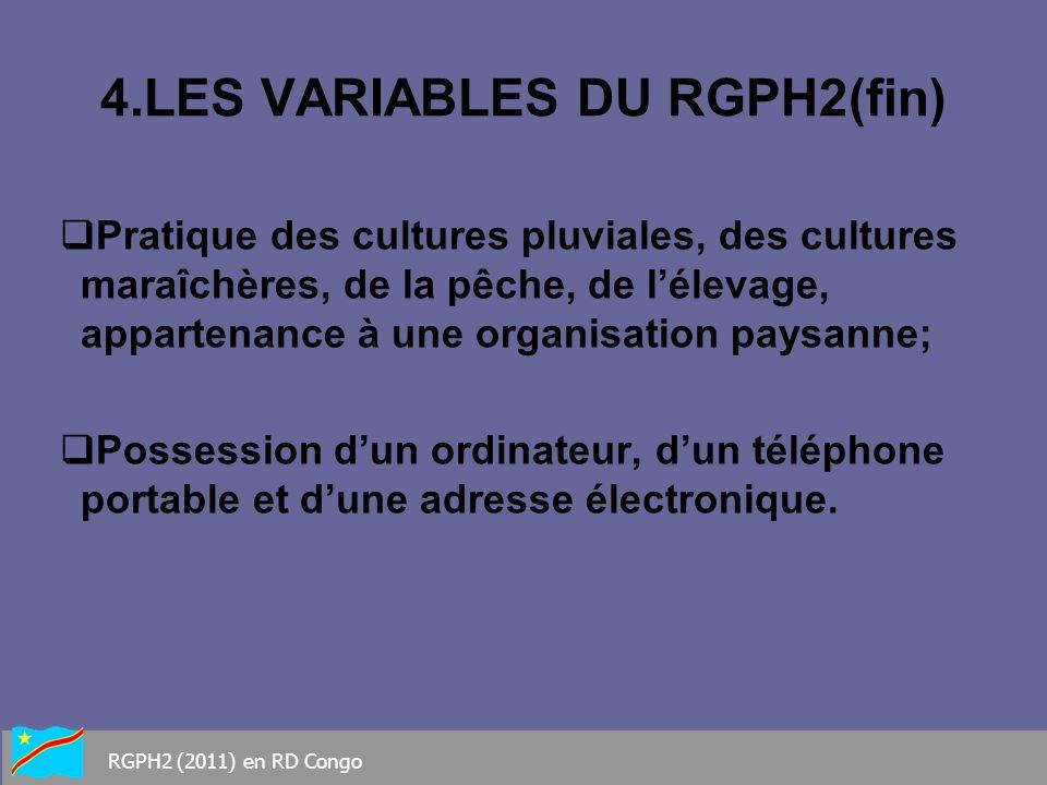 4.LES VARIABLES DU RGPH2(fin) Pratique des cultures pluviales, des cultures maraîchères, de la pêche, de lélevage, appartenance à une organisation pay