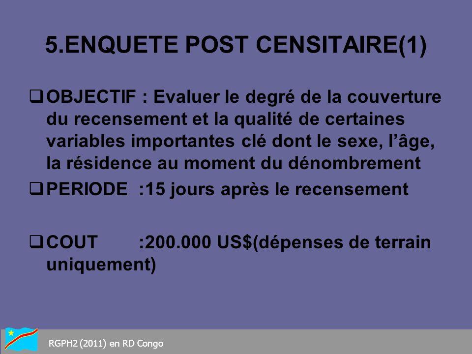5.ENQUETE POST CENSITAIRE(1) OBJECTIF : Evaluer le degré de la couverture du recensement et la qualité de certaines variables importantes clé dont le