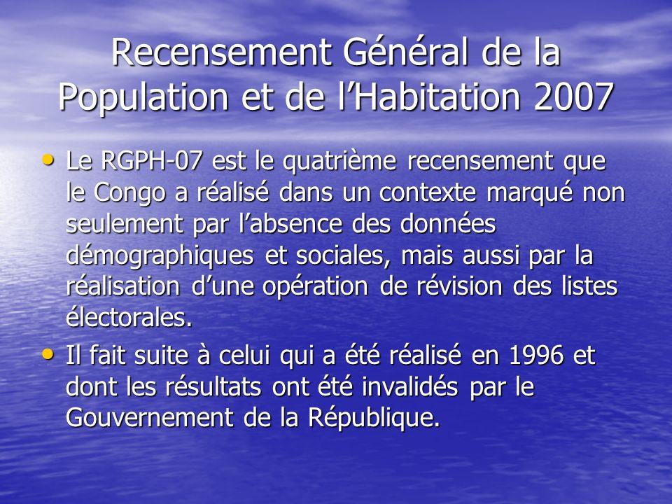 Recensement Général de la Population et de lHabitation 2007 Le RGPH-07 est le quatrième recensement que le Congo a réalisé dans un contexte marqué non