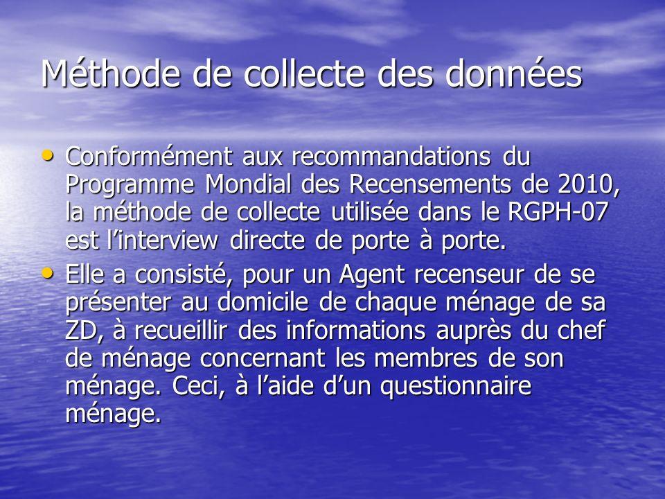Méthode de collecte des données Conformément aux recommandations du Programme Mondial des Recensements de 2010, la méthode de collecte utilisée dans l