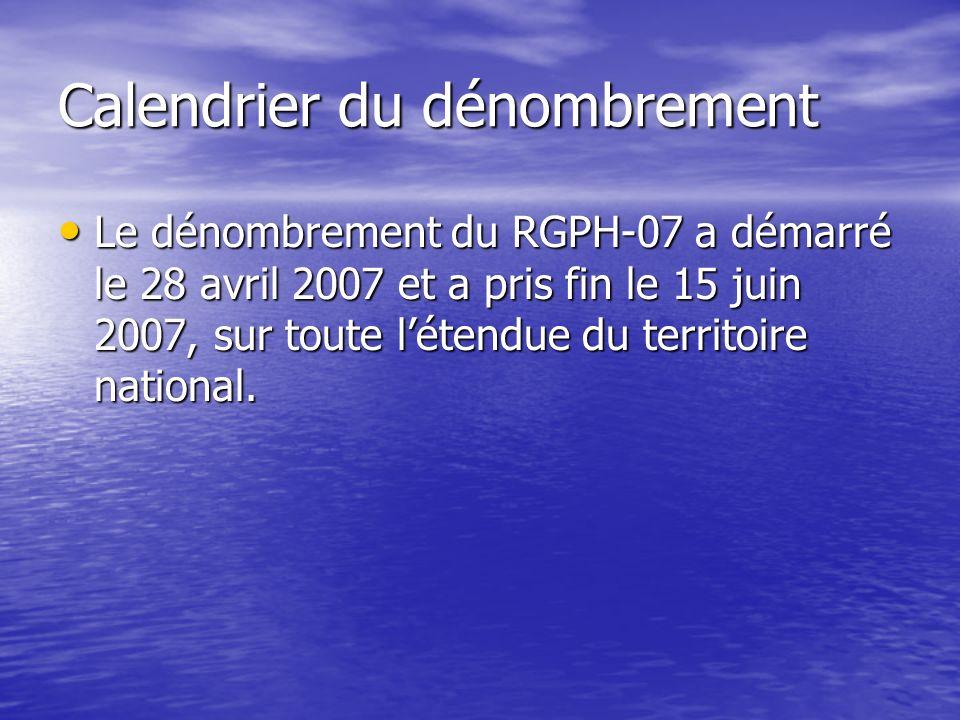 Calendrier du dénombrement Le dénombrement du RGPH-07 a démarré le 28 avril 2007 et a pris fin le 15 juin 2007, sur toute létendue du territoire natio