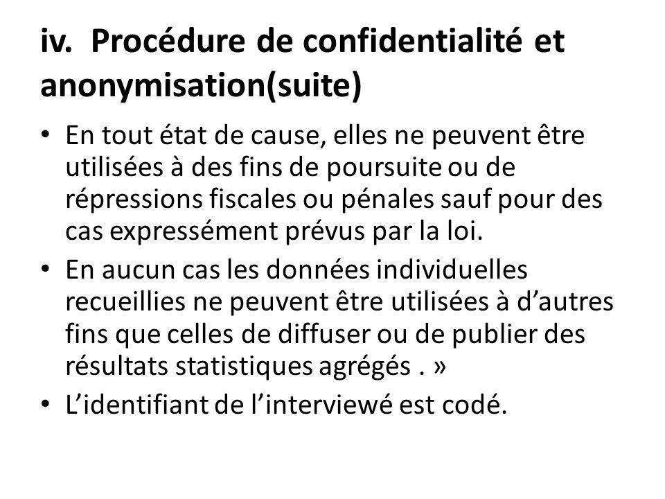 iv. Procédure de confidentialité et anonymisation(suite) En tout état de cause, elles ne peuvent être utilisées à des fins de poursuite ou de répressi