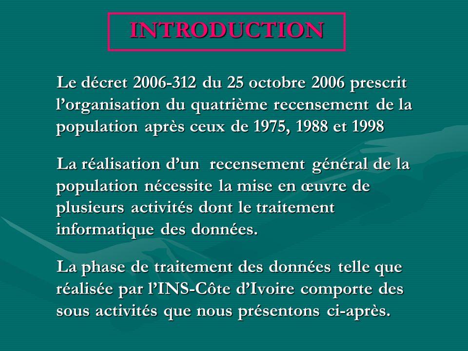 Le décret 2006-312 du 25 octobre 2006 prescrit lorganisation du quatrième recensement de la population après ceux de 1975, 1988 et 1998 La réalisation