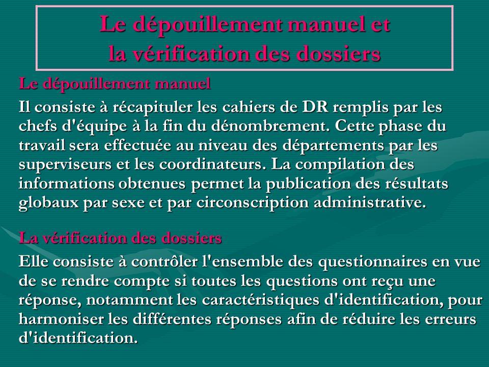 Un manuel de codification est élaboré à leffet de préciser les codes attribués aux modalités de certaines variables non portés sur le questionnaire.