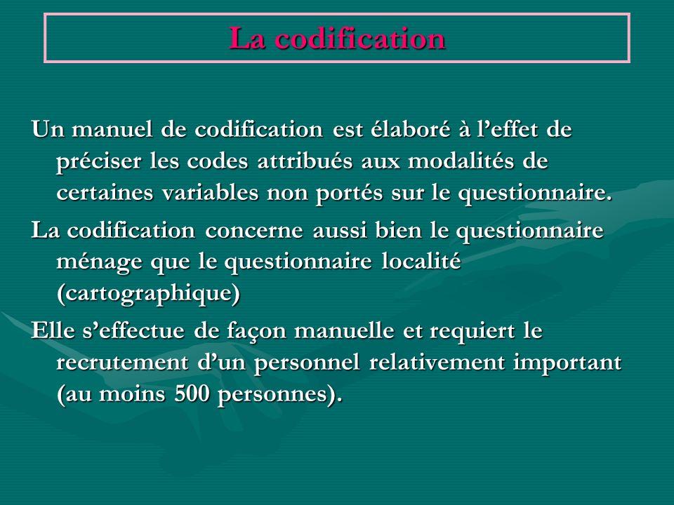 Un manuel de codification est élaboré à leffet de préciser les codes attribués aux modalités de certaines variables non portés sur le questionnaire. L