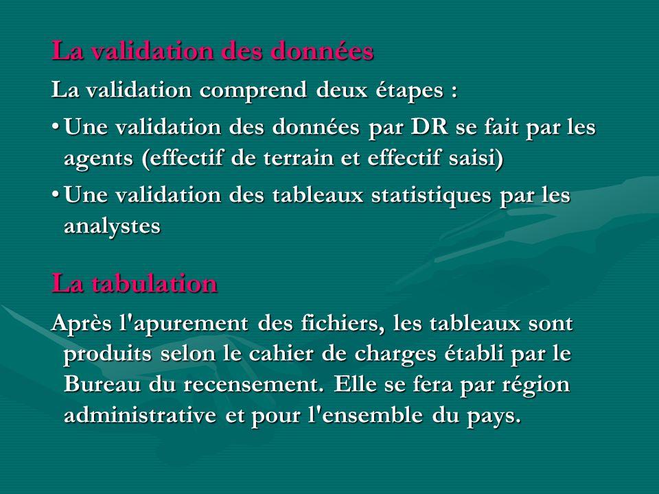 La validation des données La validation comprend deux étapes : Une validation des données par DR se fait par les agents (effectif de terrain et effect