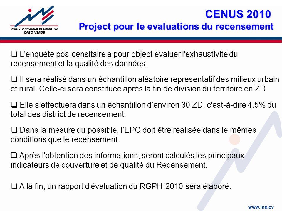 L enquête pós-censitaire a pour object évaluer l exhaustivité du recensement et la qualité des données.