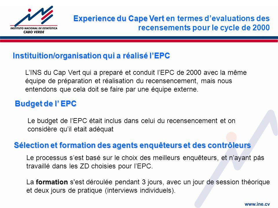 Instituition/organisation qui a réalisé lEPC LINS du Cap Vert qui a preparé et conduit lEPC de 2000 avec la même équipe de préparation et réalisation du recensencement, mais nous entendons que cela doit se faire par une équipe externe.