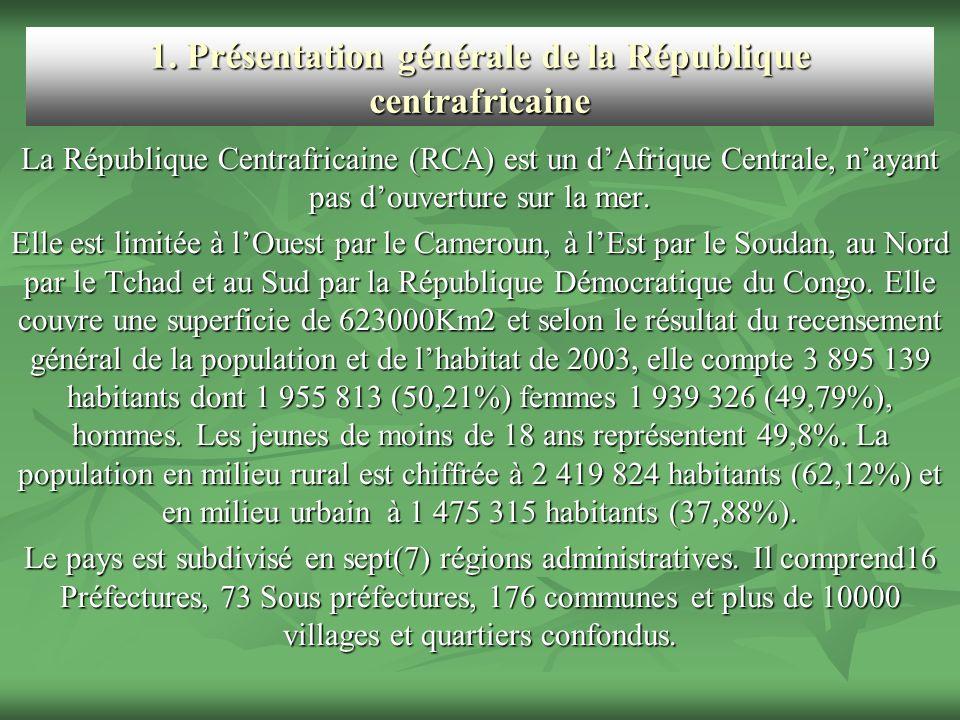 1. Présentation générale de la République centrafricaine La République Centrafricaine (RCA) est un dAfrique Centrale, nayant pas douverture sur la mer
