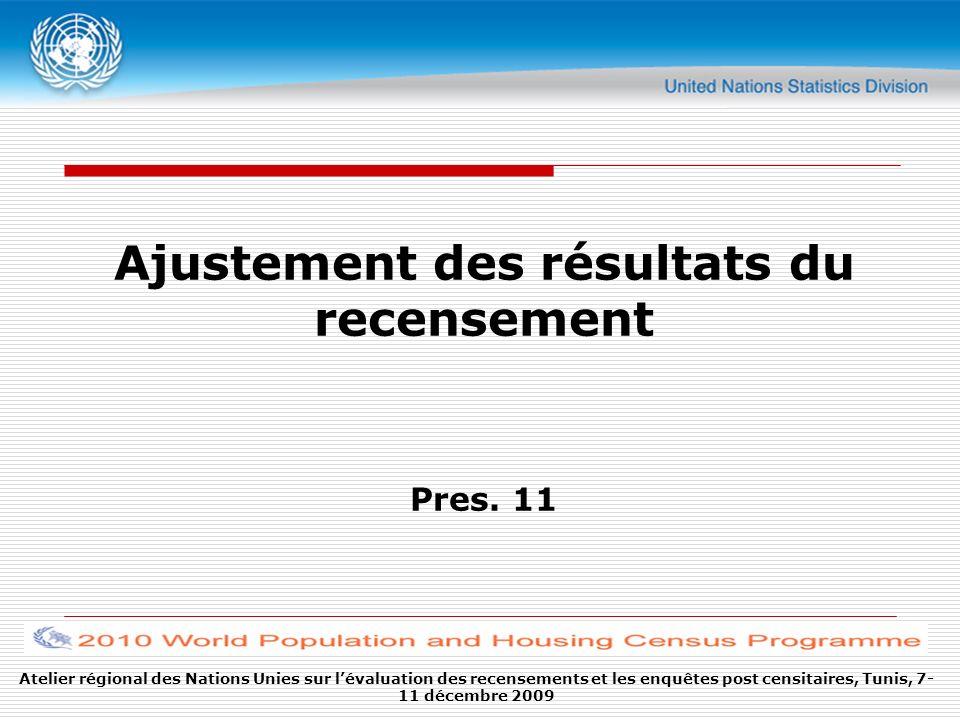 Atelier régional des Nations Unies sur lévaluation des recensements et les enquêtes post censitaires, Tunis, 7- 11 décembre 2009 Ajustement des résultats du recensement Pres.