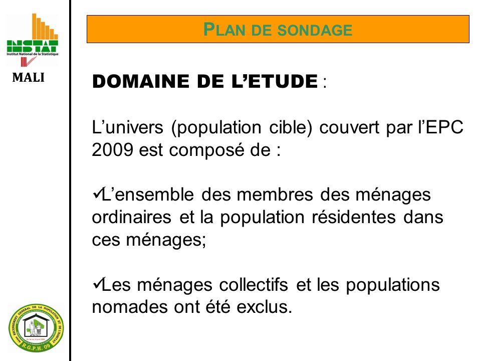 MALI P LAN DE SONDAGE DOMAINE DE LETUDE : Lunivers (population cible) couvert par lEPC 2009 est composé de : Lensemble des membres des ménages ordinai