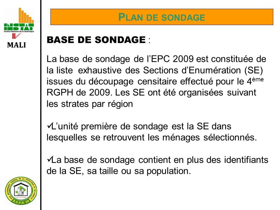 MALI P LAN DE SONDAGE BASE DE SONDAGE : La base de sondage de lEPC 2009 est constituée de la liste exhaustive des Sections dEnumération (SE) issues du