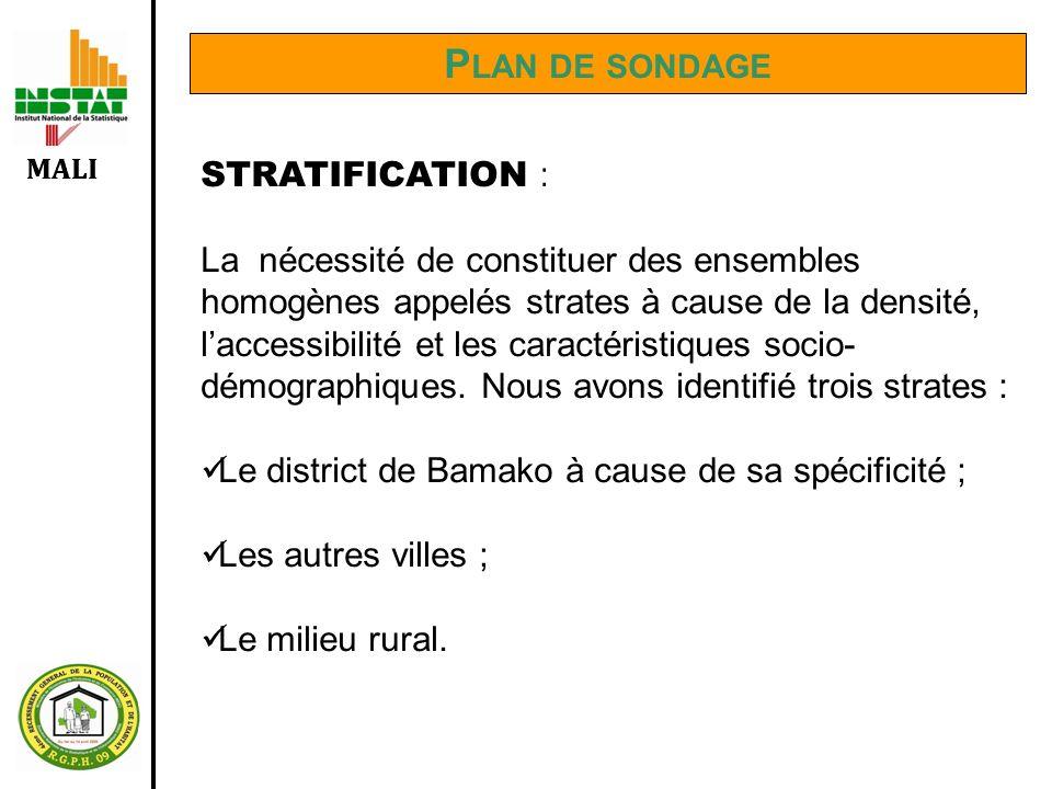 MALI P LAN DE SONDAGE STRATIFICATION : La nécessité de constituer des ensembles homogènes appelés strates à cause de la densité, laccessibilité et les