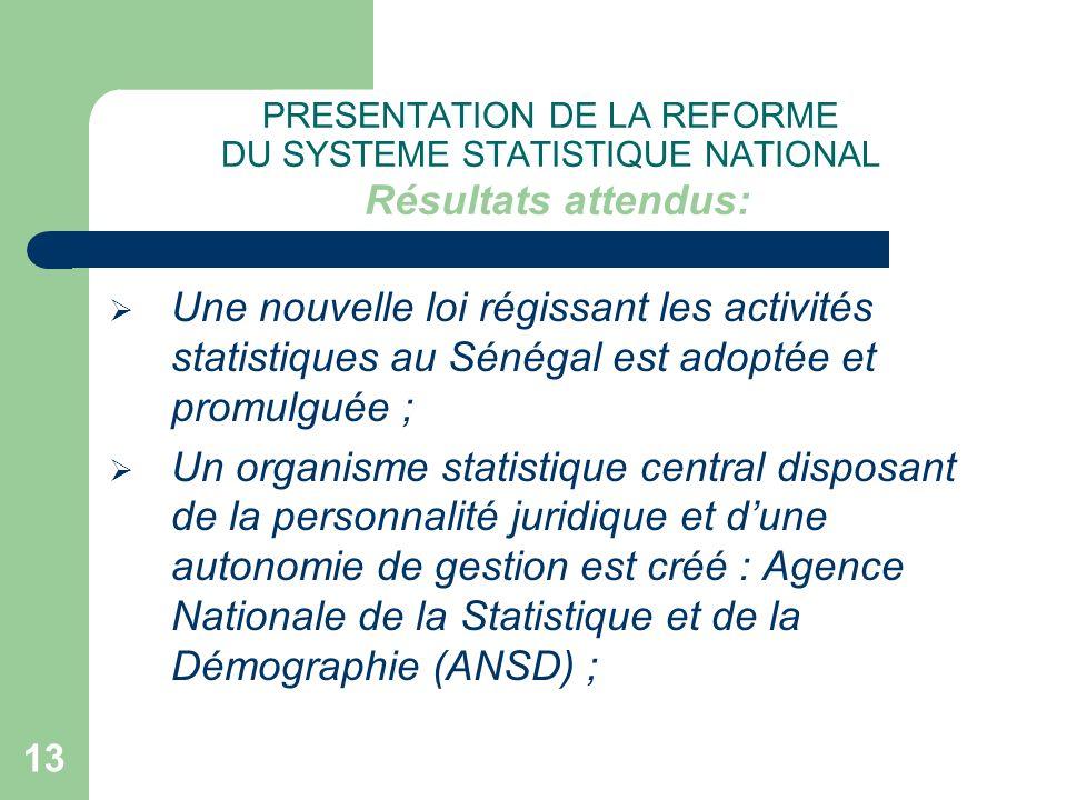 13 PRESENTATION DE LA REFORME DU SYSTEME STATISTIQUE NATIONAL Résultats attendus: Une nouvelle loi régissant les activités statistiques au Sénégal est