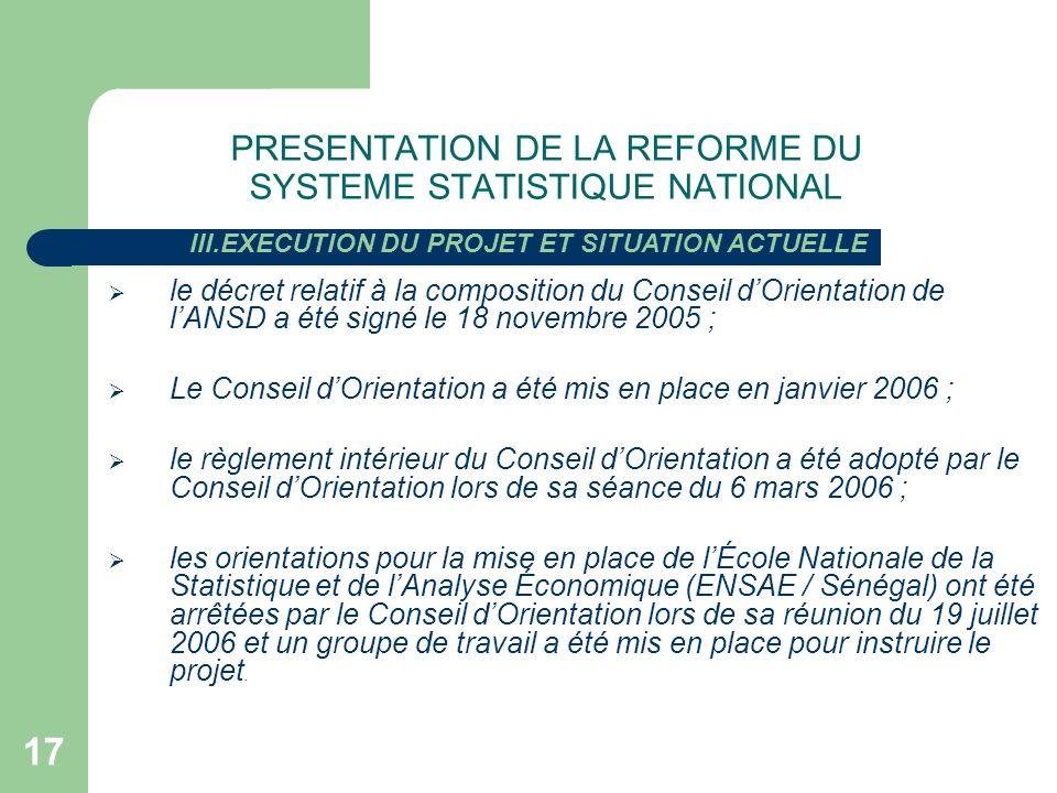 17 le décret relatif à la composition du Conseil dOrientation de lANSD a été signé le 18 novembre 2005 ; Le Conseil dOrientation a été mis en place en