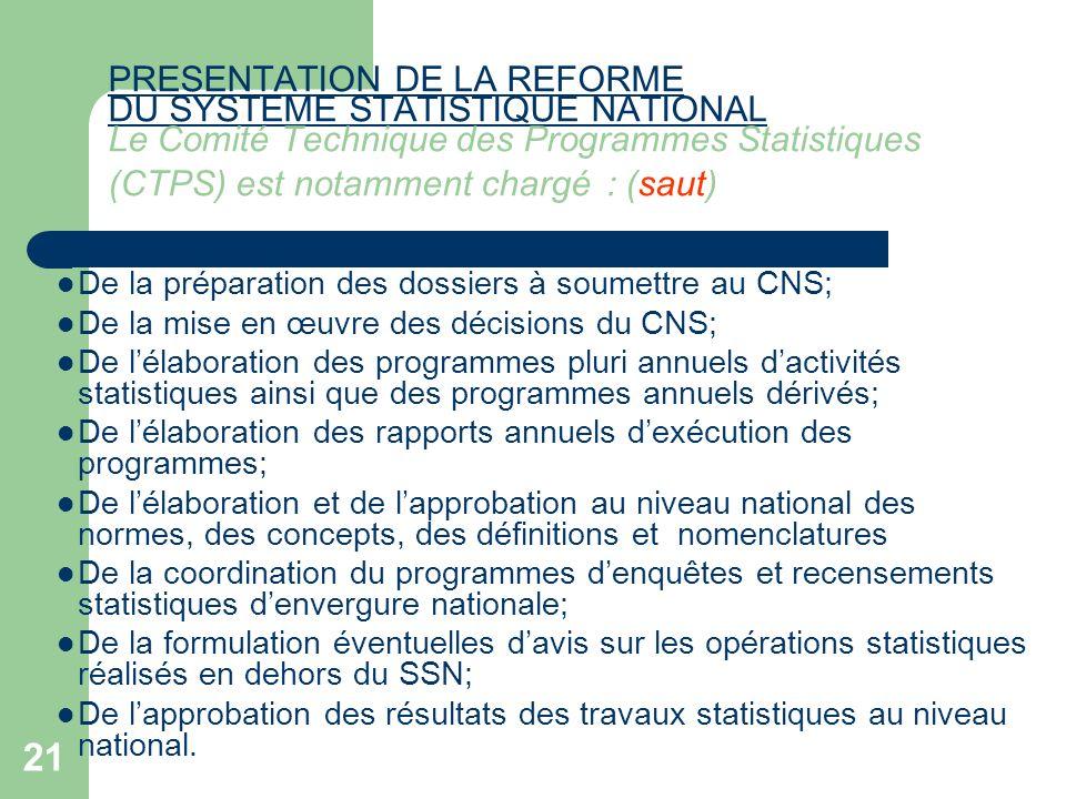 21 PRESENTATION DE LA REFORME DU SYSTEME STATISTIQUE NATIONAL PRESENTATION DE LA REFORME DU SYSTEME STATISTIQUE NATIONAL Le Comité Technique des Progr